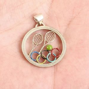 Sultan Tennis Olympics Round Solid Silver pendant